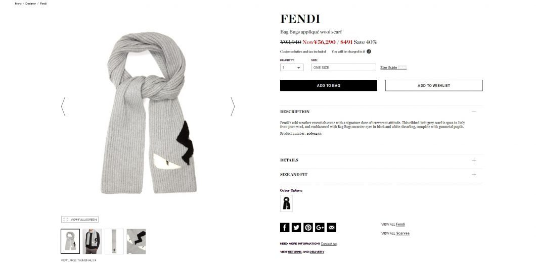 FENDI 2016aw bag bugs wool scarf
