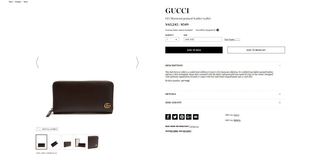 GUCCI zip aound wallet