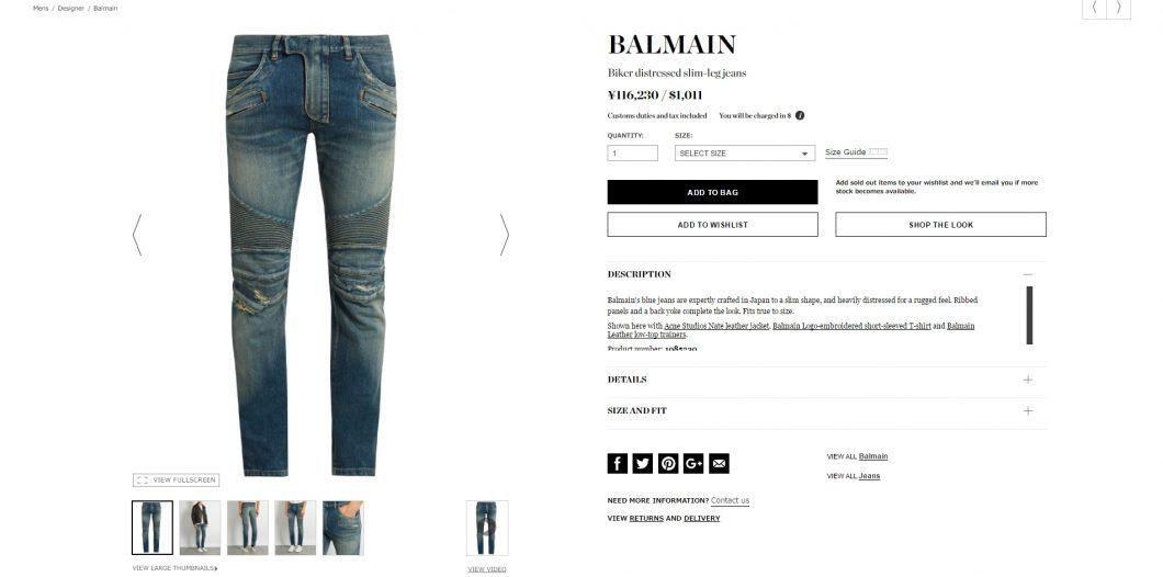 BALMAIN biker jeans 2017ss