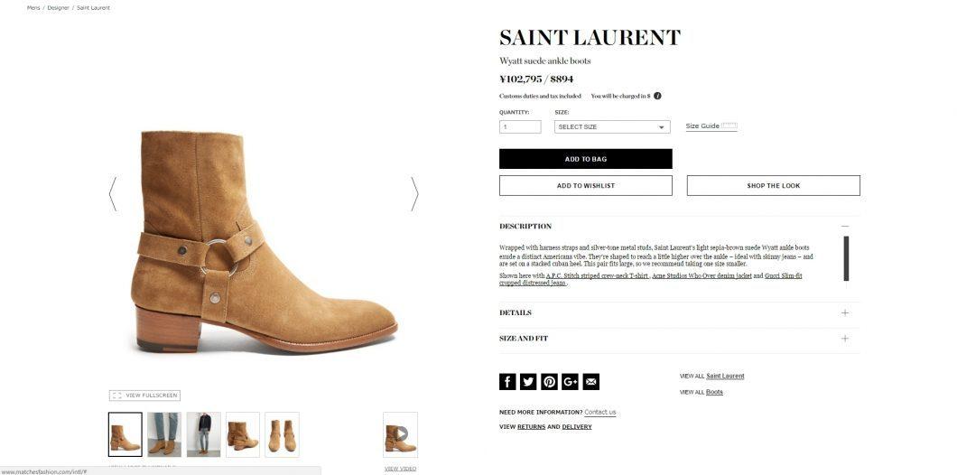 SAINT LAURENT wyatt abkle boots mens 2017ss