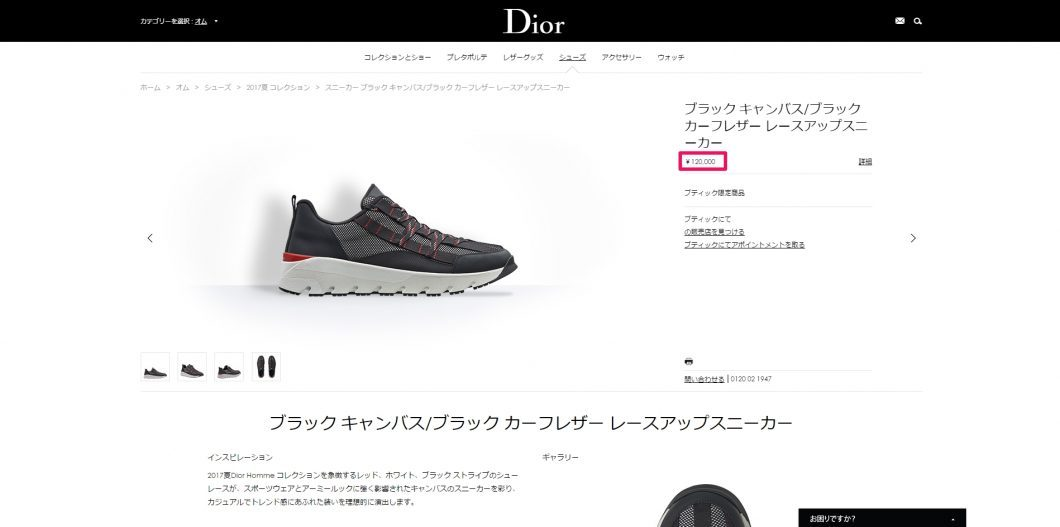 DIOR HOMME sneaker 2017ss 国内