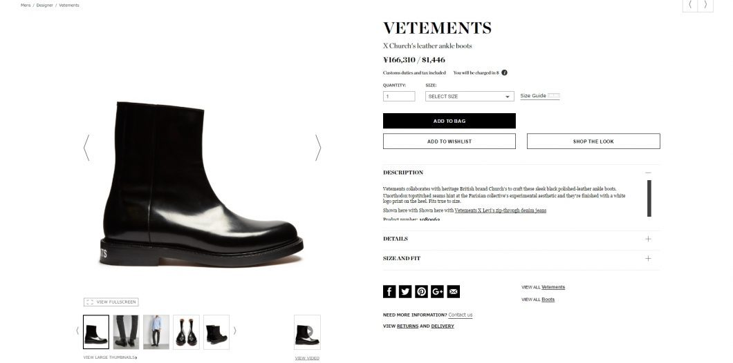 VETEMENTS X Church's ankle boots 2017ss