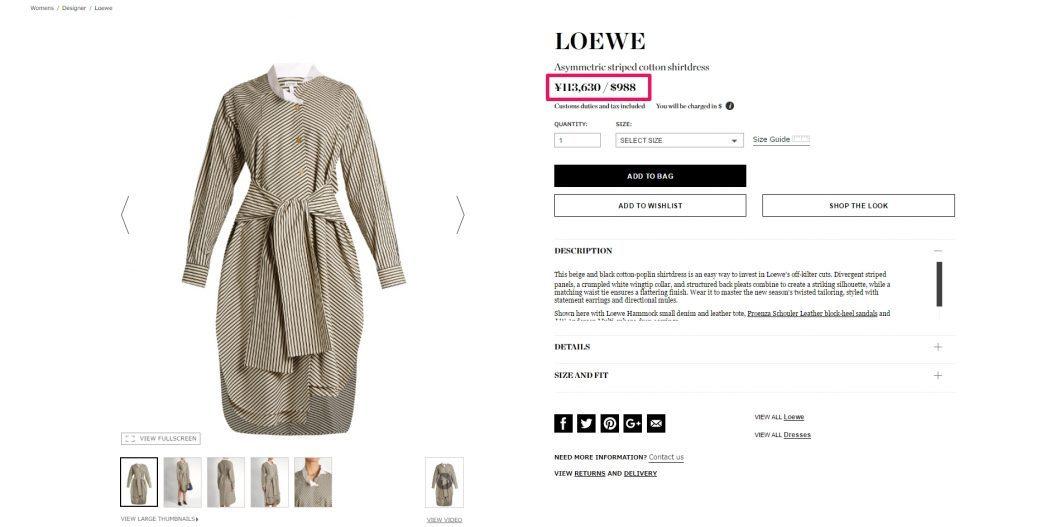 LOEWE Striped Shirtdress 2017ss 海外