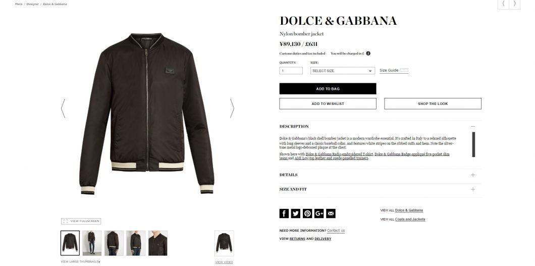 DOLCE & GABBANA bomber jacket 2017ss