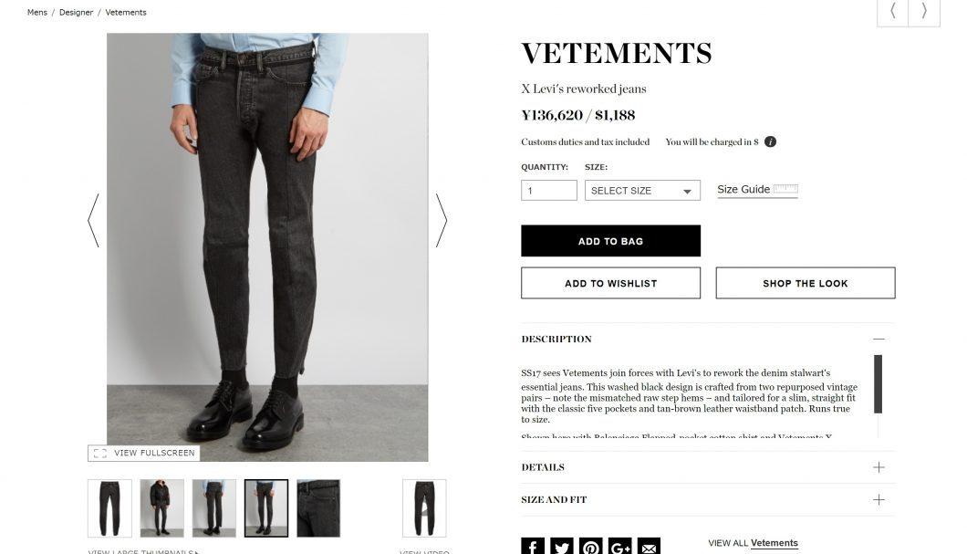 VETEMENTS levi's jeans 2017ss