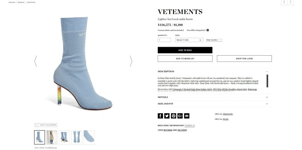 VETEMENTS socks ankle boots 2017ss