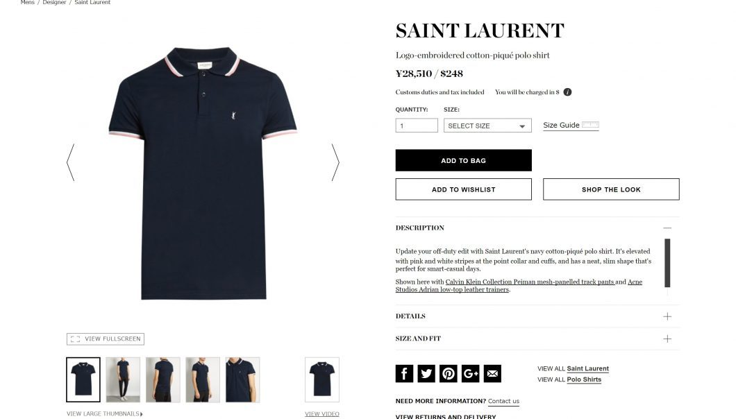 SAINT LAURENT polo shirt mens 2017ss