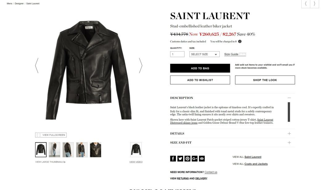 SAINT LAURENT stud leather biker jacket