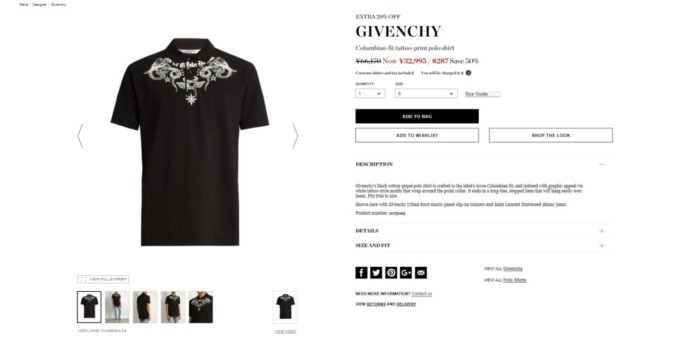 GIVENCHY Columbian-fit tattoo-print polo shirt 2017ss