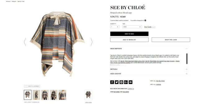 SEE BY CHLOÉ Striped cotton-blend cape 2017aw