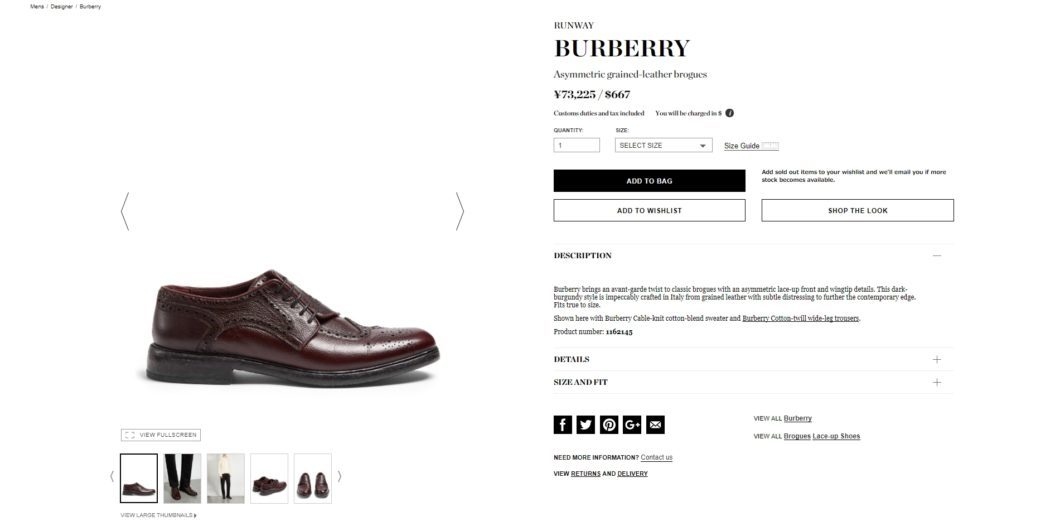 BURBERRY Asymmetric grained-leather brogues 2017aw