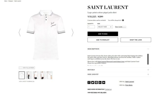 SAINT LAURENT logo polo shirt 2017aw