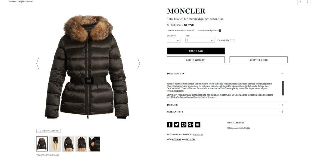 MONCLER Tatie hooded fur-trimmed quilted down coat 2017aw