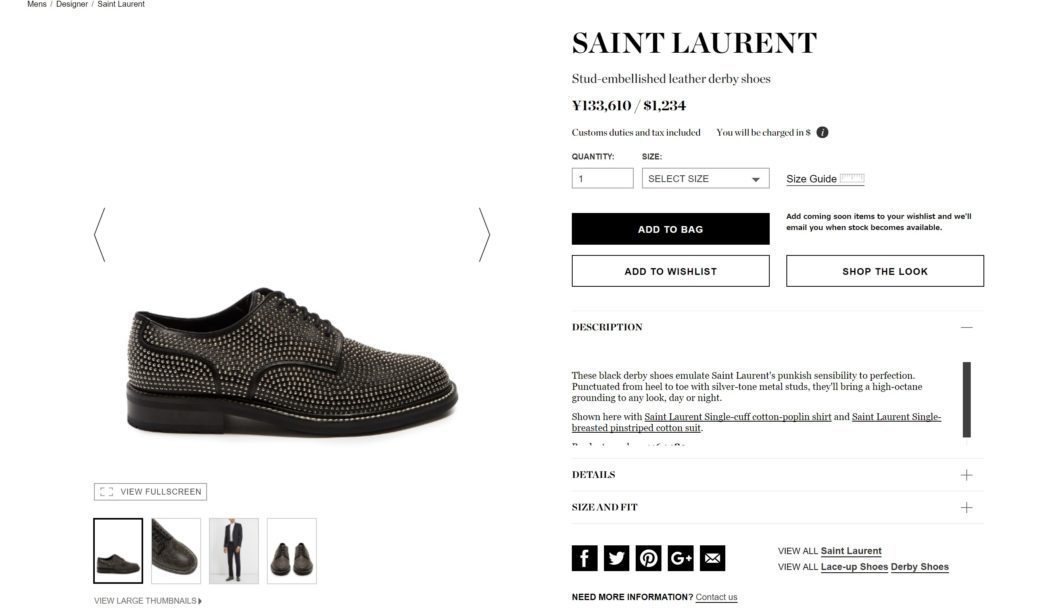SAINT LAURENT Stud-embellished leather derby shoes 2017aw
