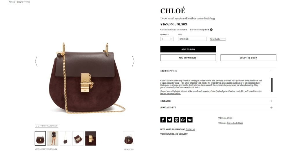 CHLOÉ Drew small suede and leather cross-body bag 2017aw
