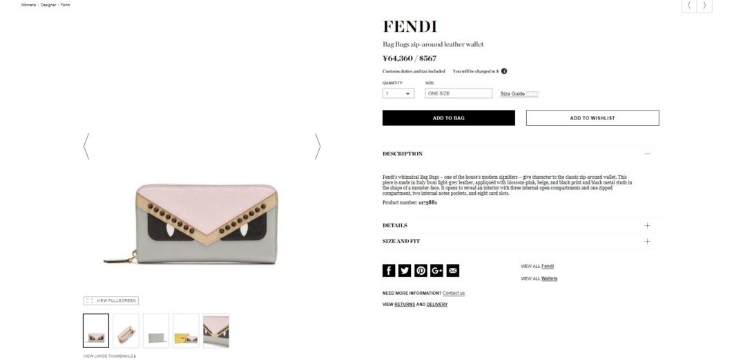 FENDI Bag Bugs zip-around leather wallet 2017aw