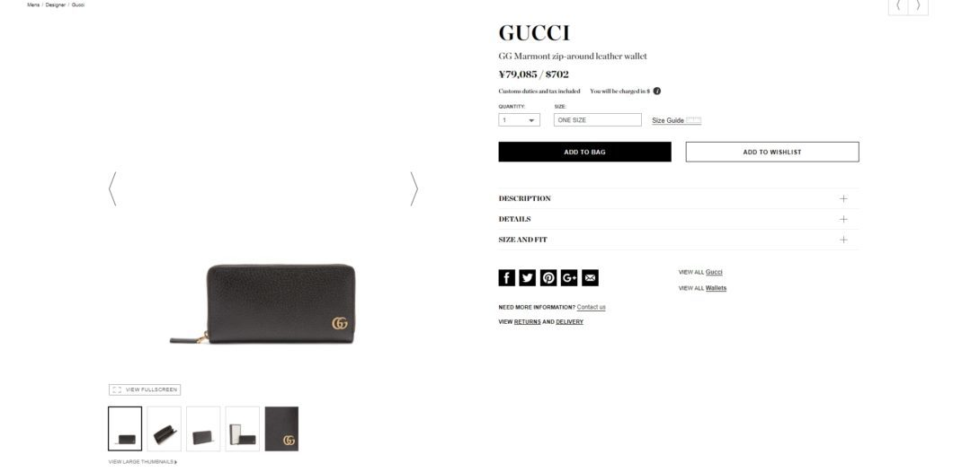 GUCCI GG Marmont zip-around leather wallet 2017aw