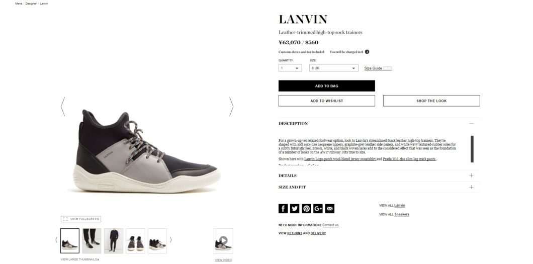 LANVIN Leather-trimmed high-top sock trainers 2017aw