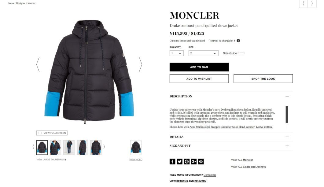 MONCLER Drake contrast-panel quilted-down jacket 2017aw