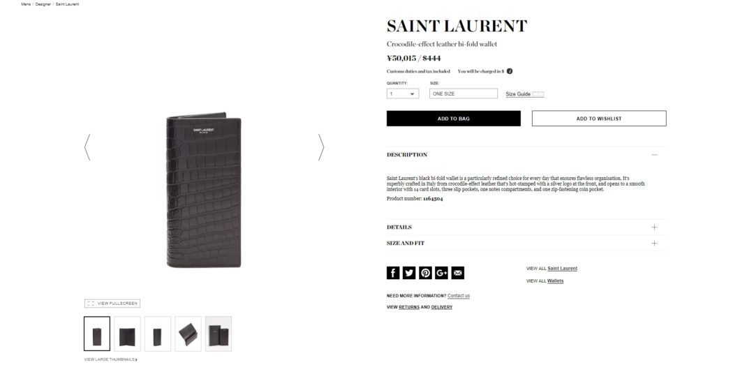SAINT LAURENT Crocodile-effect leather bi-fold wallet 2017aw