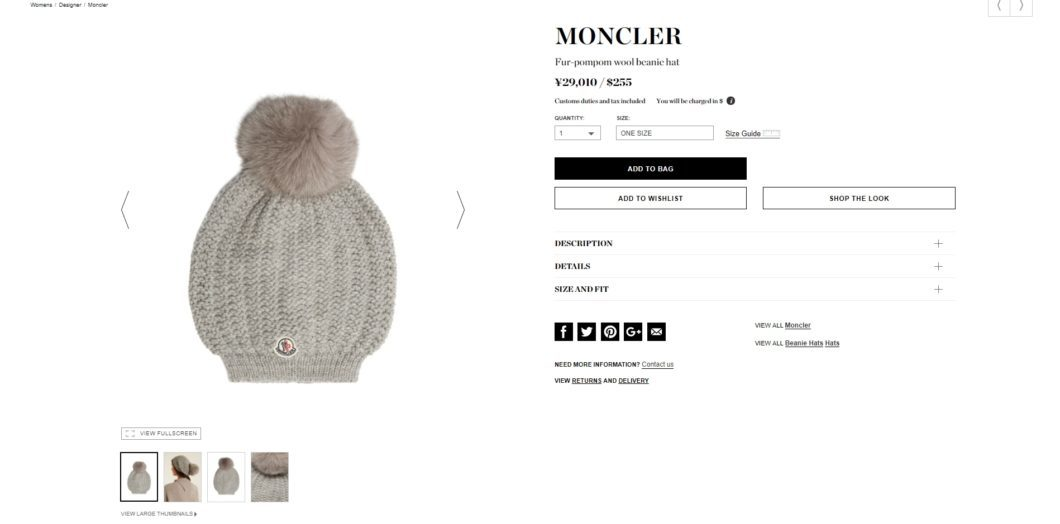 MONCLER beanie hat 2017aw
