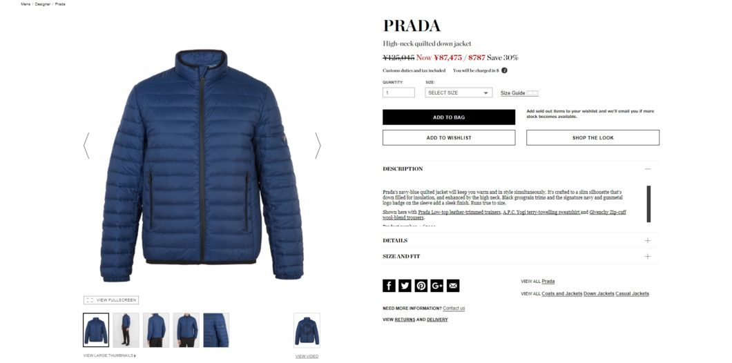 PRADA High-neck quilted down jacket 2017aw sale