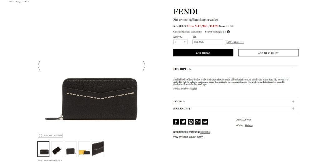 FENDI Zip-around saffiano leather wallet 2017aw sale
