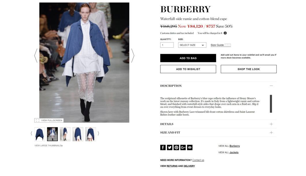 BURBERRY Waterfall-side ramie and cotton-blend cape 2017aw sale
