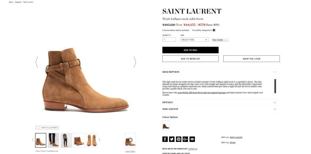 SAINT LAURENT Wyatt Jodhpur suede ankle boots 2017aw sale