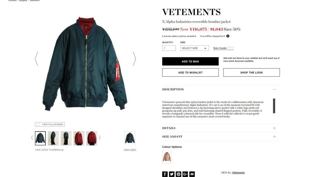 VETEMENTS X Alpha Industries reversible bomber jacket 2017aw sale